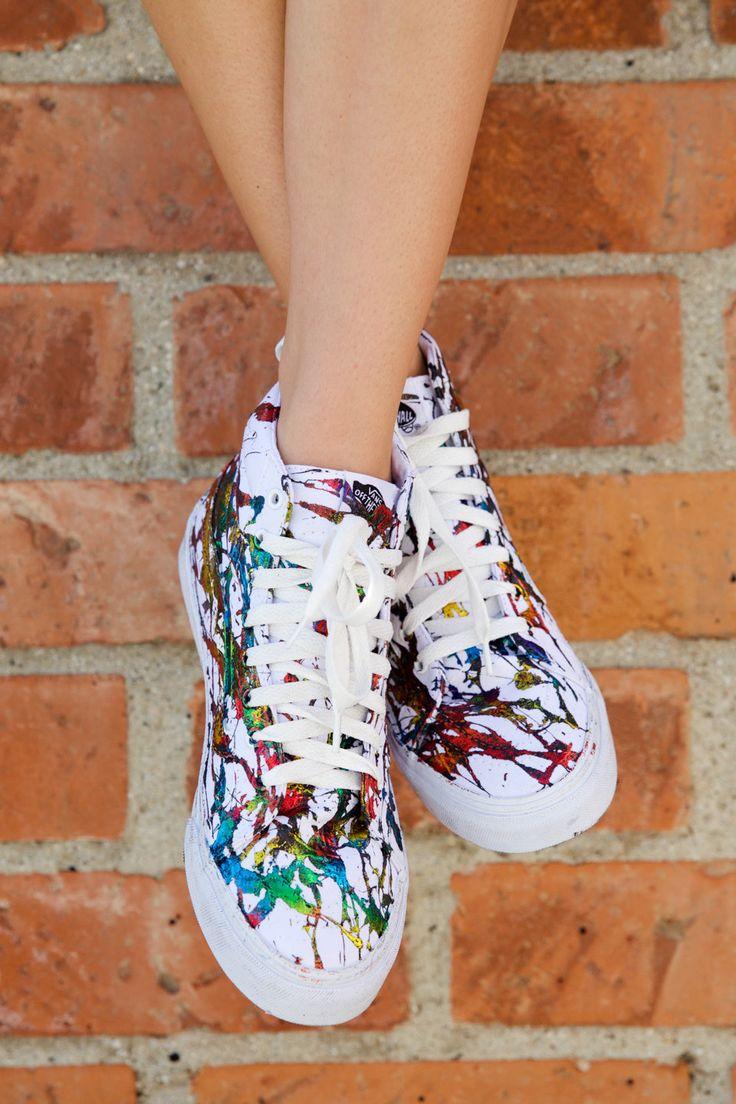 Hand Painted Metallic Splatter Canvas Sk8-Hi Sneakers