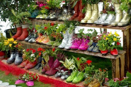 Garten Design Deko-Ideen Schuhe bepflanzen