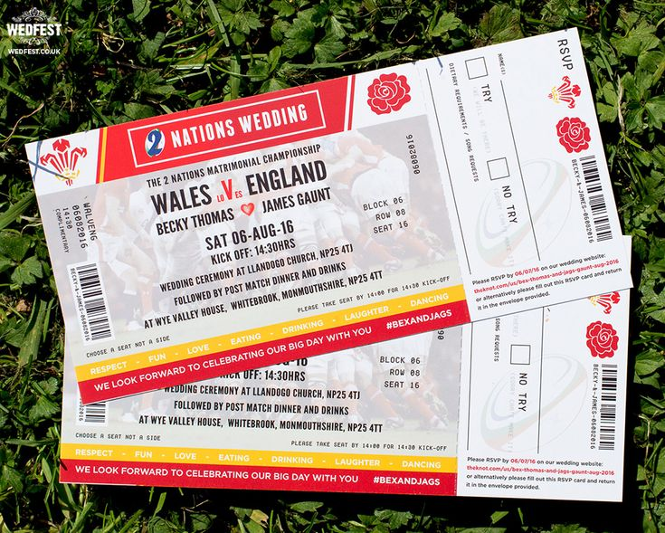 wales vs england rugby ticket wedding invitations http://www.wedfest.co/rugby-ticket-wedding-invites/
