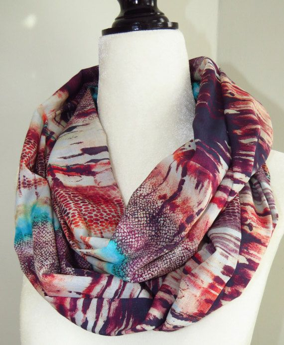 Purple abstract infinity scarf purple scarf by MelyndaSwan on Etsy