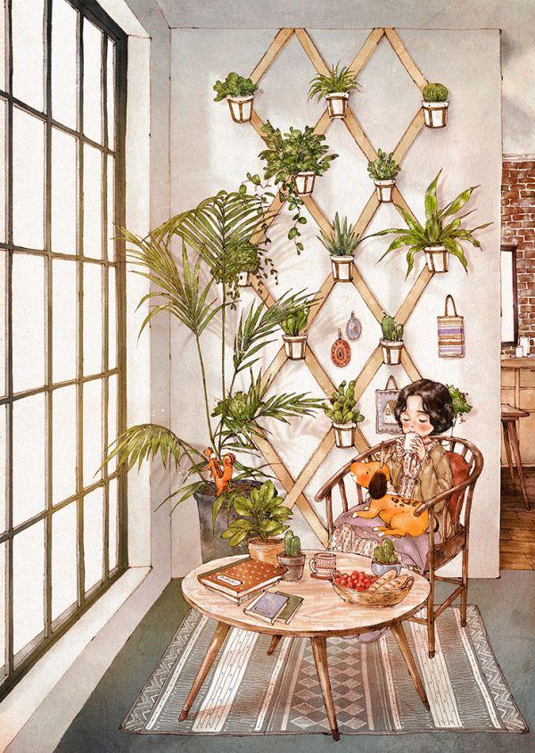 쉽게 지나치던 집 안의 작은 공간에  나만의 정원을 만들어 보는 건 어떨까요? 푸른 산세베리아와 향기로운 로즈메리, 길게 잎을 늘어트린 아이비과 선인장 화분들 자그마한 테이블과 의자 몇 개를 놓아두면 금세 멋진 홈카페가 됩니다 싱그러운 식물들 속에서 느긋하게 차 한 잔을 마시면 조금은 지쳐있던 내 마음도 어느새 편안하고 따뜻해집니다