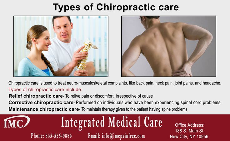 Chiropractic care is used to treat neuro-musculoskeletal complaints, like back pain, neck pain, joint pains, and headache. There are various types of chiropractic care including relief chiropractic, corrective chiropractic and maintenance chiropractic.