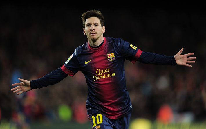 Download wallpapers Lionel Messi, 4k, football, Spain, La Liga, football star, Barcelona FC, Catalonia
