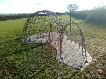 living willow play structure with tunnel