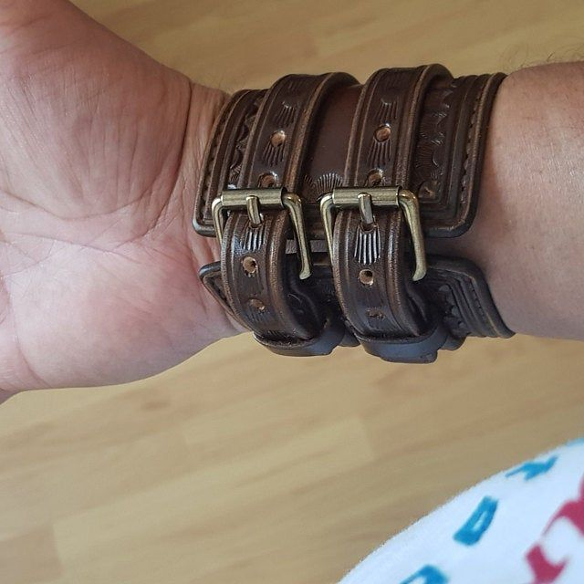 Handcrafted in USA! Vintage style Hand tooled with studs Leather cuff bracelet Brown American Cowboy King