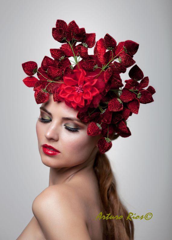 Strawberries headpiece Fascinator Lady gaga hat by ArturoRios