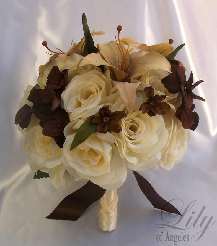"""Bridal Bouquet Wedding Package 50 Pieces Silk Flower Decoration BROWN CREAM IVORY """"Custom Orders Available"""". $575.00, via Etsy."""