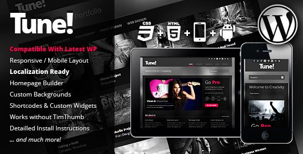 Tune Responsive Creative Business WordPress Theme   http://themeforest.net/item/tune-responsive-creative-business-wordpress-theme/2948021?ref=damiamio          Dark Elegance! Tune is a highly versatile, fully-responsive WordPress Theme aimed at creative businesses with loads of thoughtful features and options. The responsive design provides a beautiful and easy to browse experience on Smartphones, IPhones & Ipad's. You want to customize the layout of your homepage? No Problem! The homepage…