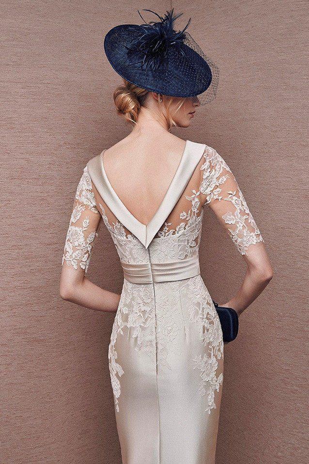 Vestido It's My Party 6628 color crema en mikado y encaje detalle espalda