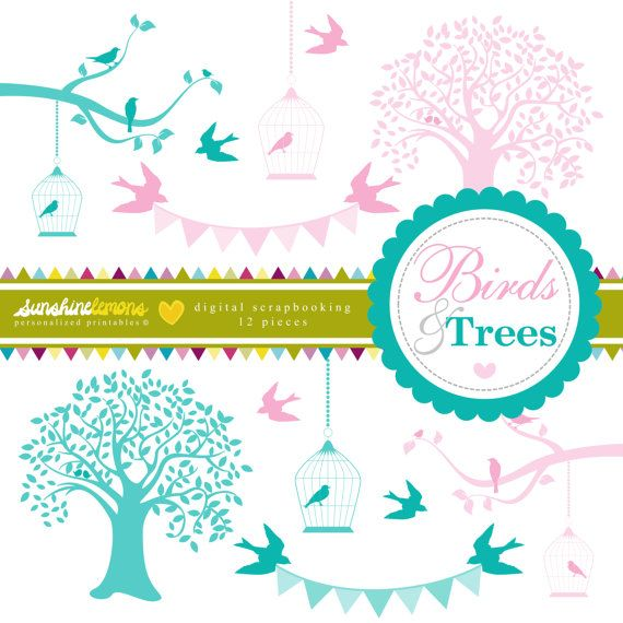 Birds and Trees Clipart  Tree Clipart  Birdcage by SunshineLemons. So pretty!