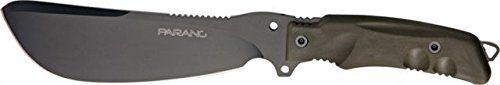 "Fox Parang Bushcraft Knife. Overall length: 11.81"" (300 mm). Blade length: 6.69"" (170 mm). Handle Material: Olive Drab FORPRENE with glass breaker. Survival Kit. Cordura Sheath."