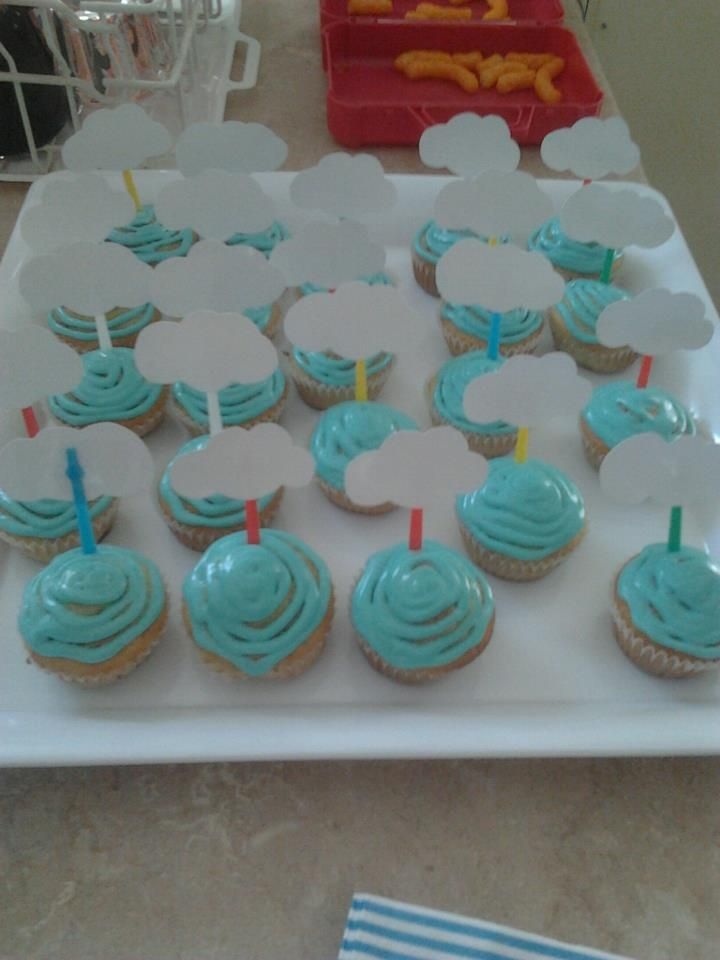 Cupcakes for a rain shower themed baby shower
