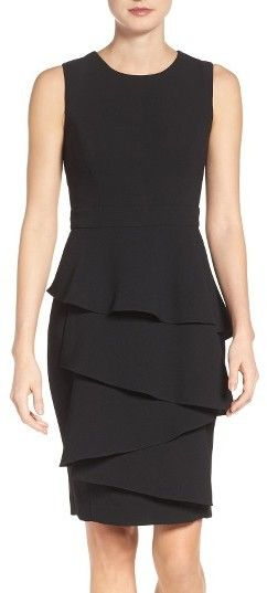 #fashion Petite Women's Eliza J Ella Cascade Crepe Sheath Dress