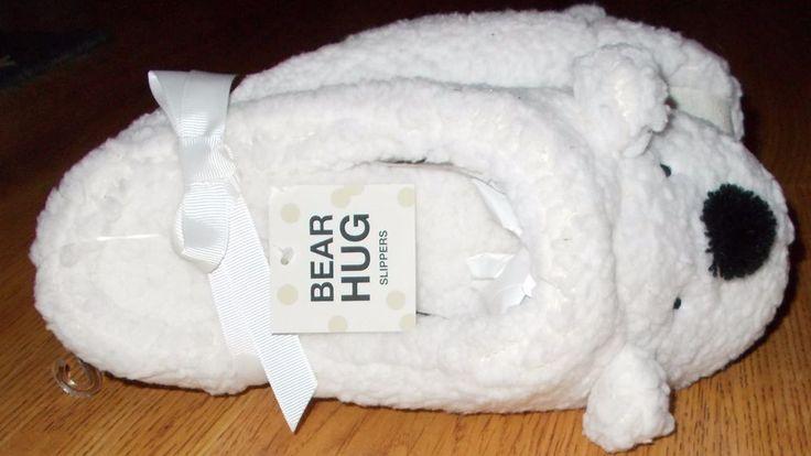 BATH & BODY WORKS Women's Bear Hug Cream Animal Slipper Size L(Fits 8-10)NWT  #BathAndBodyWorks #Slippers