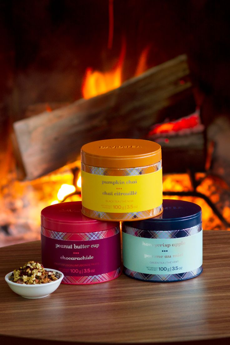 Our favourite teas in reusable, collectible tins. Choose from Pumpkin Chai, Honeycrisp Apple and Peanut Butter Cup.