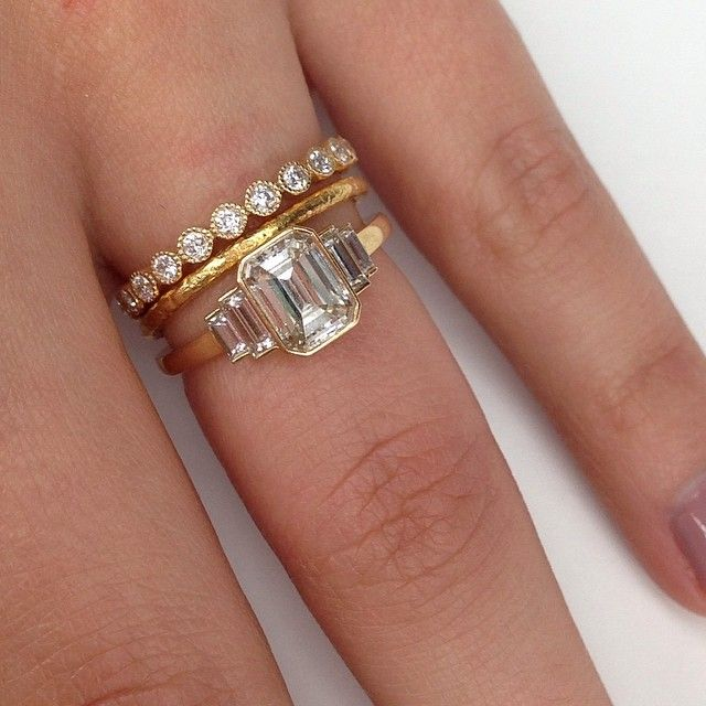 I want the band with round diamonds all around!!! Love stacking rings