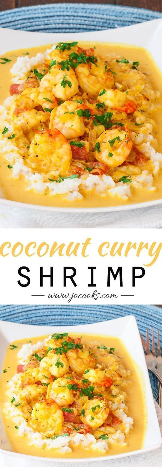 "Coconut Shrimp Curry - Serve with Cauliflower ""Rice"" and coconut oil to make Paleo! #paleo #grainfree #glutenfree"