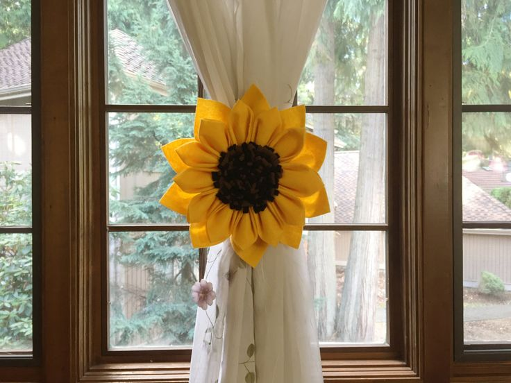 Yellow Gold Large Kanzashi SunFlower Curtain Tiebacks Tie Back Holdback,Set of 2,Drapery Tieback Decor, Gold Brown Room Decor by BiannaCreations on Etsy