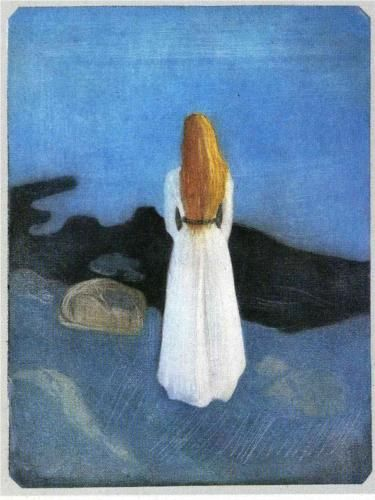 Edvard Munch, Young woman on the shore, 1896, symbolism, The Munch Museum