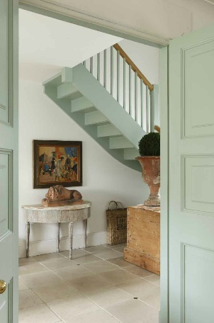 painted staircase,   celadon, green, painted doors,