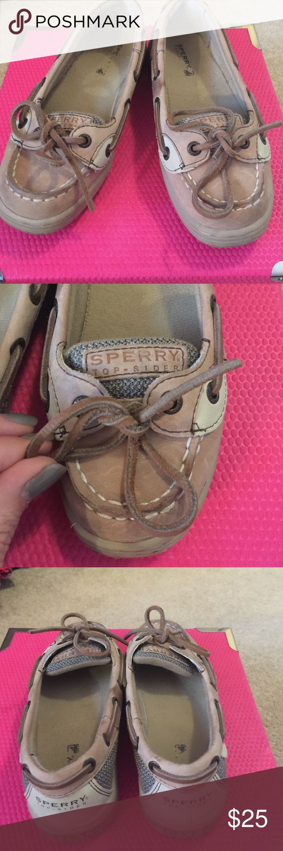 Sperry tan flats in excellent condition! Bought from the Sperry store and these are in excellent condition. Great detail as they always do. Easy to get on and off so another mom favorite ! And my daughter loves sperry as they are not just known for a classy style -- but comfort!! Yeaaa!! Win- win! Sperry Top-Sider Shoes
