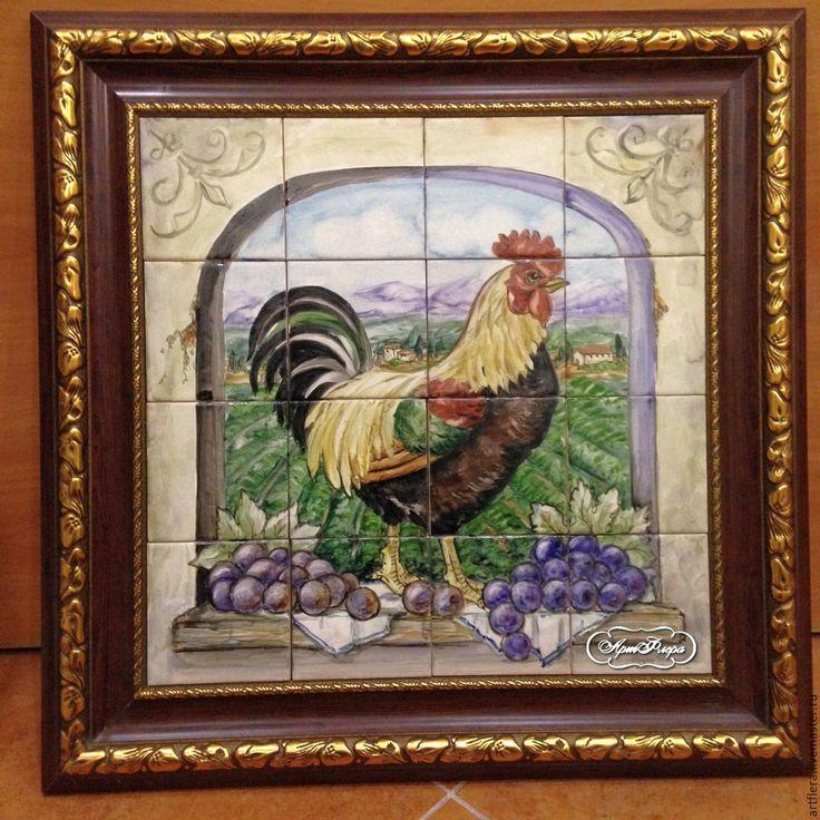 Купить Роспись плитки Фартук для кухни Панно из плитки Петух Тосканы - роспись керамики