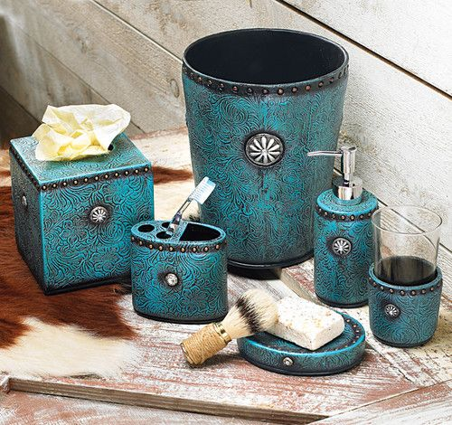 6pc Set Turquoise & Concho Western Bathroom Decor Turquoise Bath Accessory Set (CUTE COLOR SCHEME!!)