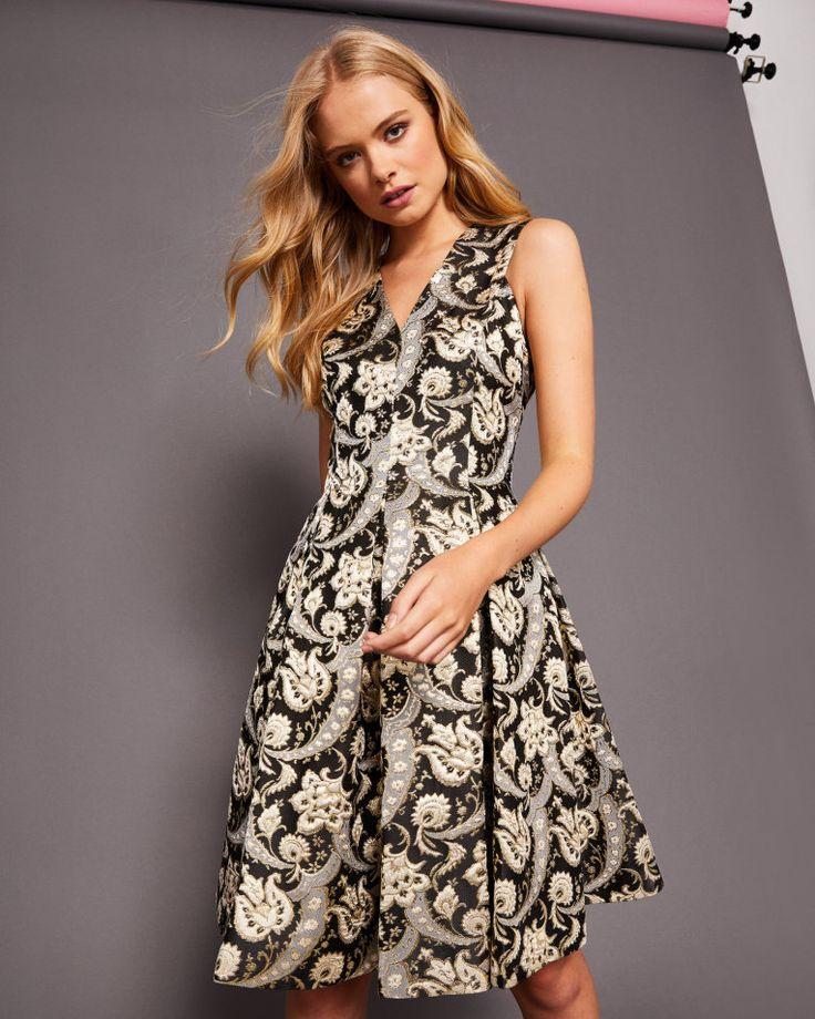 Ornate Paisley V-neck dress - Black | Dresses | Ted Baker