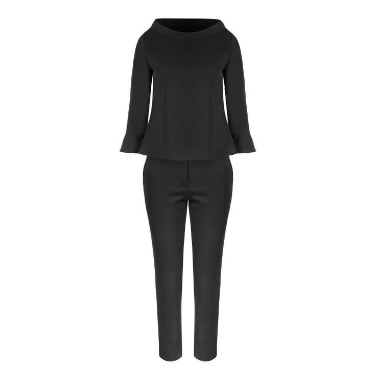 Black suit with collar cigarette pants