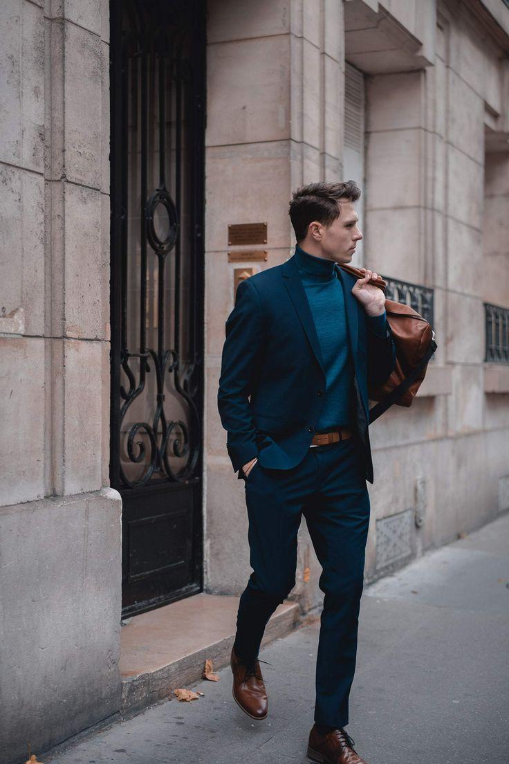 Wie Traegt Mann Anzug Im Herbst Winter Outfit Anzug Rollkragenpullover Marineblaueranzug Modeblog The Side View 12