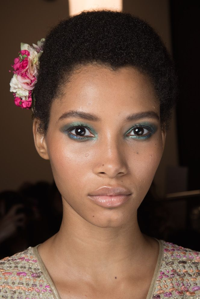 Lineisy Montero's backstage beauty look at the DVF #SS16 runway.