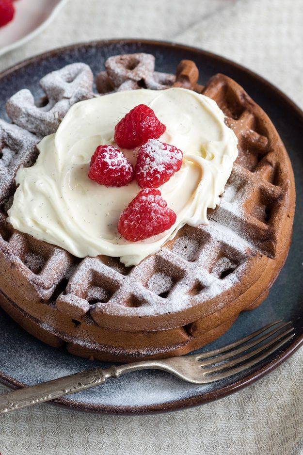 Decadent dark chocolate waffles topped with a creamy and tangy mascarpone whip.