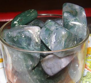 Moss Agate, tumble polished chunks