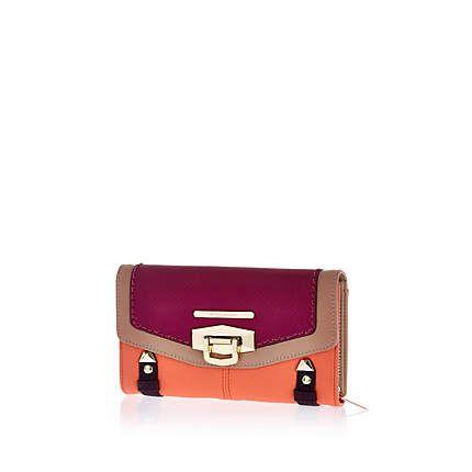 Purple colour block flip lock purse £17.00