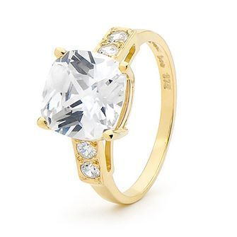 Cubic Zirconia Ring - Cushion Cut Gem - BEE-24948-CZ