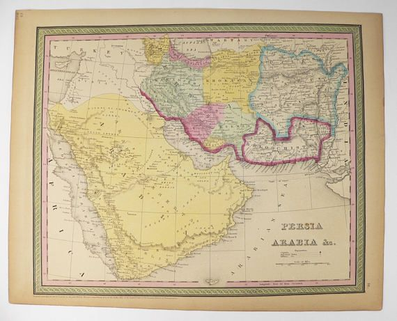 Antique Map Saudi Arabia, Iran Map Persia 1852 Mitchell Map Persian Gulf Middle East Map, Oman Pakistan Map, Man Cave Decor Gift for Guy available from www.OldMapsandPrints.Etsy.com #SaudiArabia #PersianGulf #OriginalAntiqueMap #1852MitchellCowperthwaitMap #MiddleEastMap #UniqueOfficeDecor