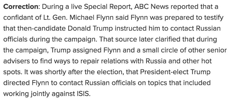 CORRECTION of ABC News Special Report: Michael Flynn prepared to testify that President-elect Donald Trump directed him to make contact with the Russians *during the transition* -- initially as a way to work together to fight ISIS in Syria, confidant now says. http://abcn.ws/2BCa6iH