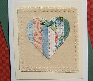 Hand-stitched card by Helen Drewett with beautiful vintage fabrics and silk bow | eBay