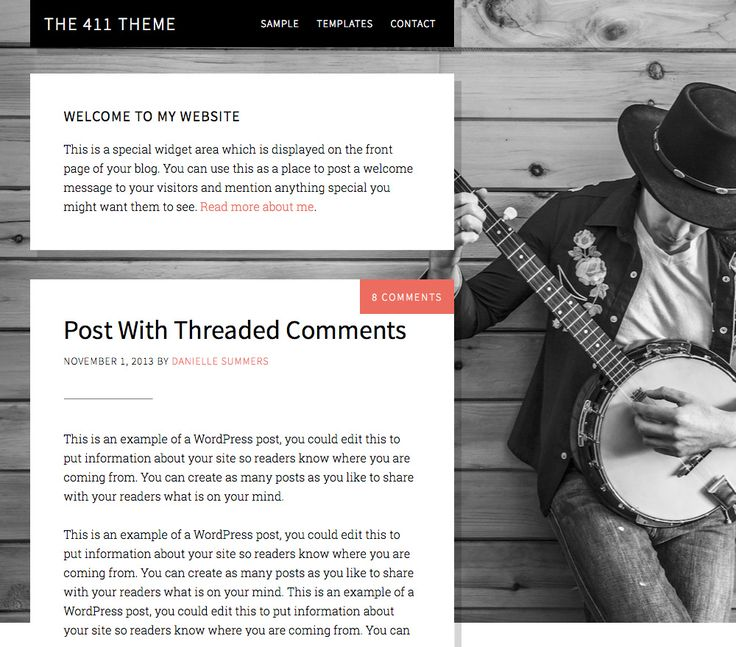 The 411 Pro Theme is designed to get your information to your audience in the most visually appealing and navigationally efficient way possible.  Choose your most compelling image and watch the responsive 411 resize it appropriately. Write long posts or little quick hits, and welcome your audience with a warm message – it's all built right into the theme.  // This child theme requires the Genesis framework for Wordpress, which is a framework we've come to rely on exclusively for its SEO…