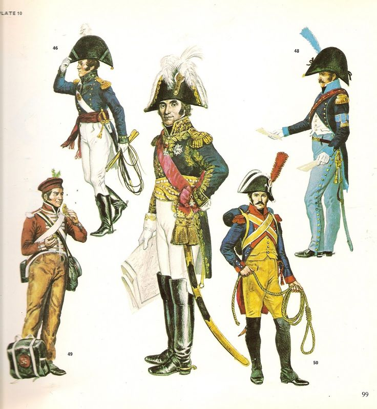 """tenente della """"Royal engineers"""" inglese, Massena maresciallo francese, Aiutante di campo di un generale di brigata francese, fuciliere di un rgt. di fanteria leggera inglese e gendarme francese"""