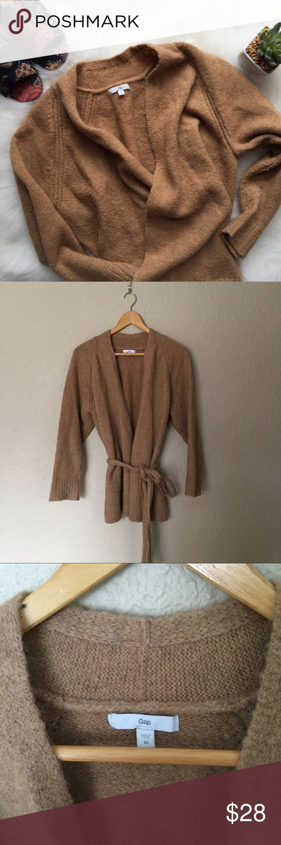 Tan Sweater Wrap Cozy Brown Cardigan | GAP Camel Tie Cardigan Wrap. Ties at waist. Good used condition-- notice condition in photos. Flat lay measures as follows. Chest  20 inches when closed tied up. Side seam 17 inches. Bundle & save! Offers always welcome.  (A3) GAP Sweaters Cardigans