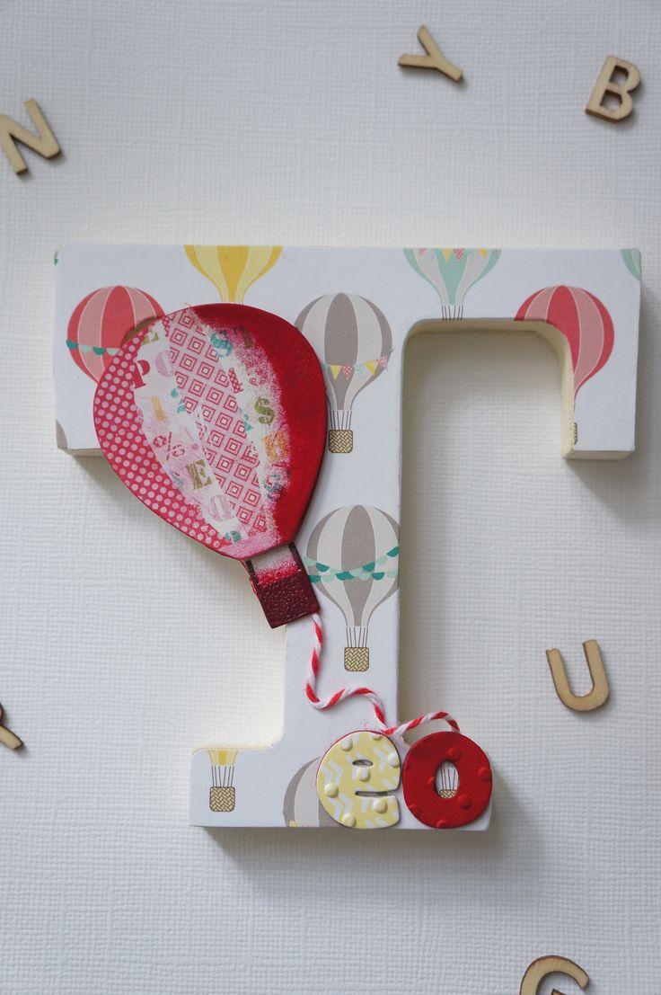 Letra infantil decorada con la técnica de scrap  http://baqui-mirincon.blogspot.com.es/2014/08/letras-decoradas-mama-y-sus-patitos.html#comment-form