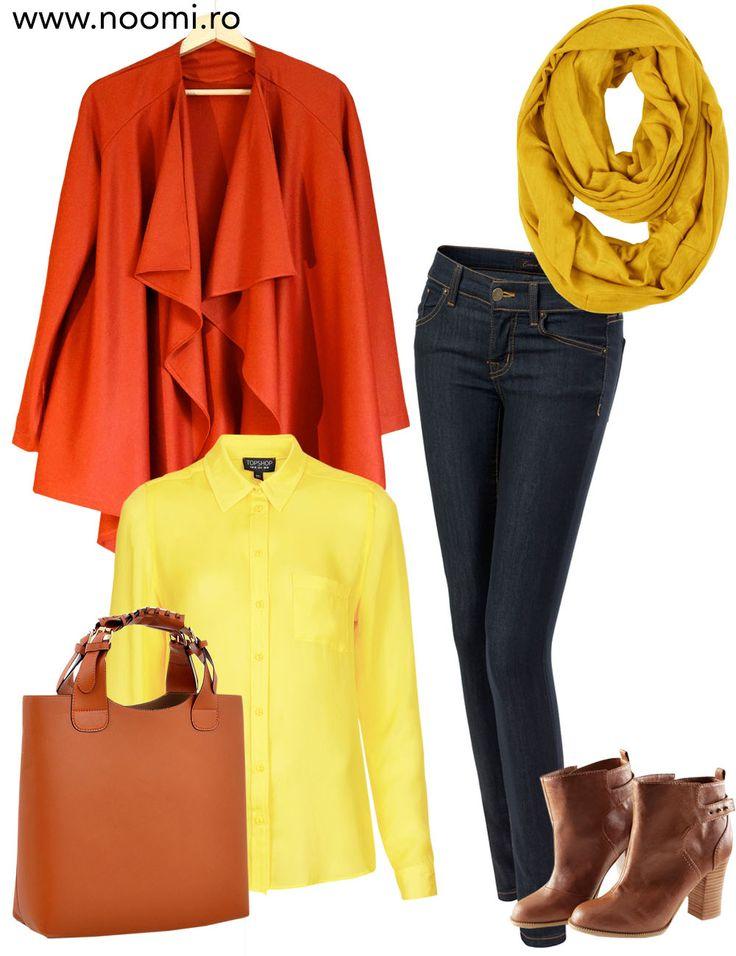 Tinuta de birou cu blazer-ul din jerse de culoarea teracotei creat de Noomi. Pentru zile pline si colorate.