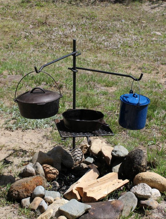 Campfire cooking grill bbq grate dutch oven and by for How to cook in a dutch oven over a campfire