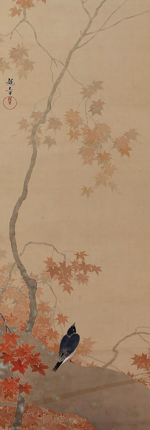 Bird in blossoming maple tree. Japanese hanging scroll painting.