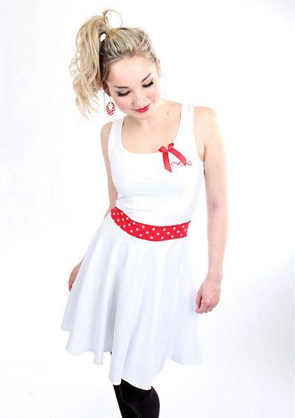 """Trägerkleider - MEKO """"Patty"""" Kleid Weiß Rot Damen Punkte ärmellos  - ein Designerstück von meko bei DaWanda"""