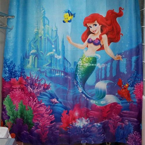 Mignon-3D-little-mermaid-tissu-impermeable-rideau-de-douche-salle-de-bain-nuance-72-034