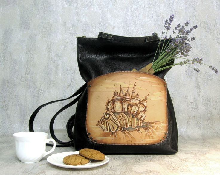 leather backpack  black backpack with pyrography  leptop backpack - pinned by pin4etsy.com #CityRomance #leather_backpack # black_backpack #leptop_backpack #pyrography