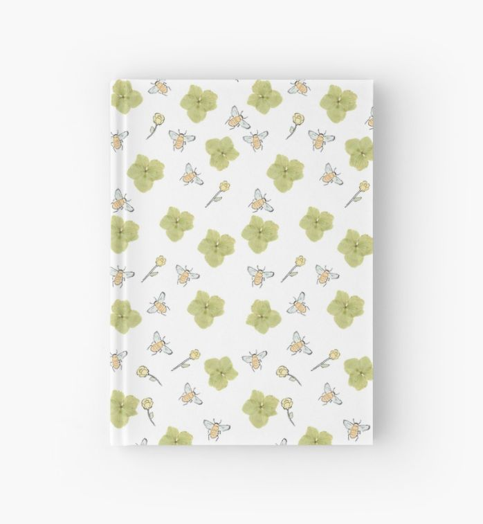 Ella Harriott Design- Buttercup & Bee Print- Hardcover notebook available to buy.
