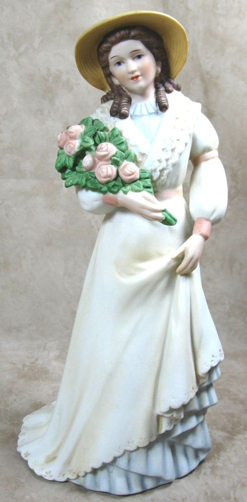 HOMCO/HOME INTERIOR #1468 Charlotte Rose Victorian Lady with Flowers Figurine
